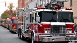 Firetrucks heading to an emergency.