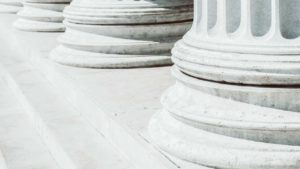 Closeup view of marble columns.